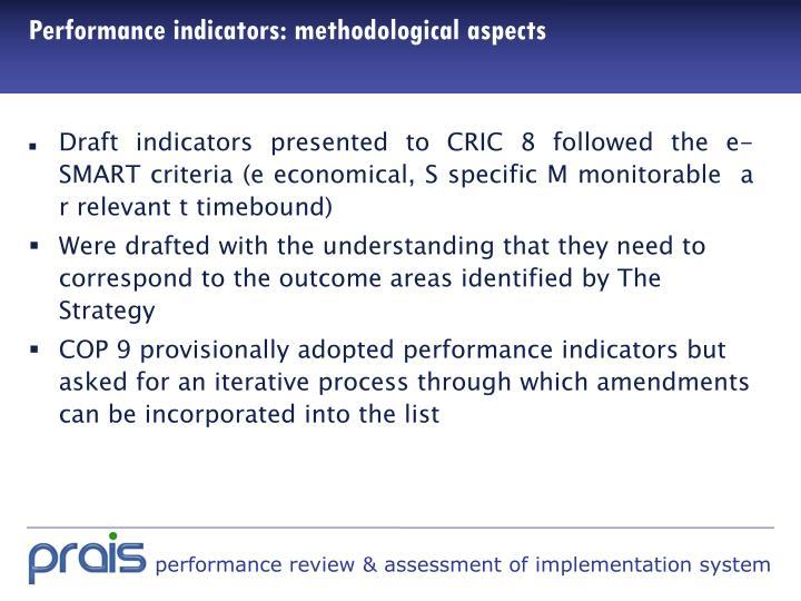 Performance indicators: methodological aspects