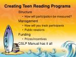 creating teen reading programs
