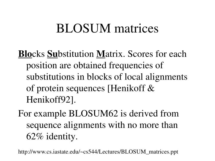 BLOSUM matrices