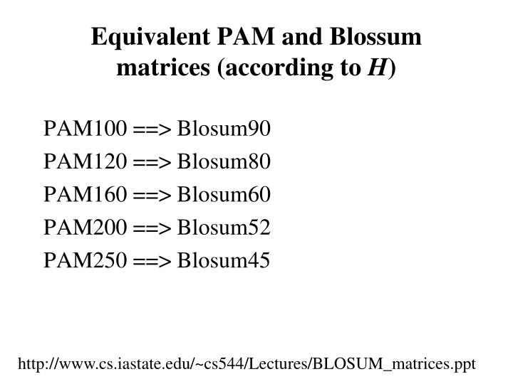 Equivalent PAM and Blossum matrices (according to