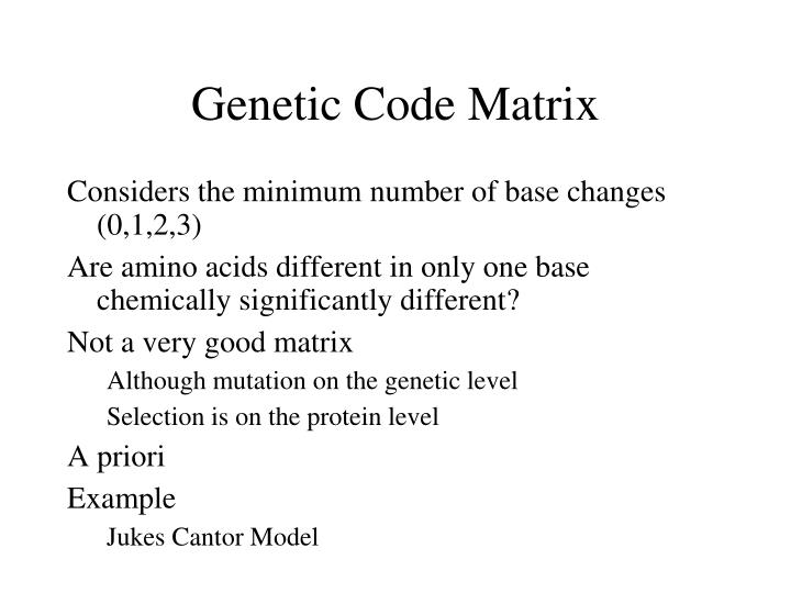 Genetic Code Matrix