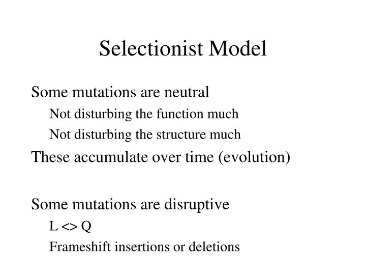 Selectionist Model