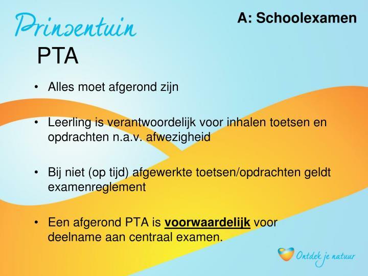A: Schoolexamen
