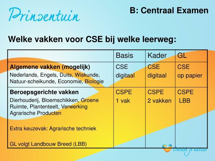 B: Centraal Examen