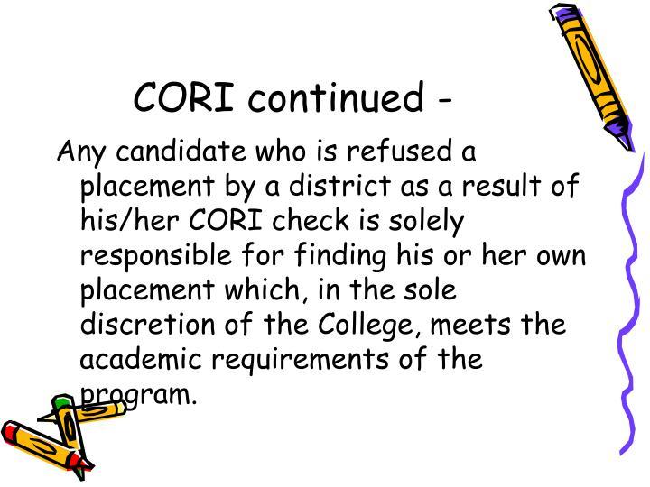 CORI continued -