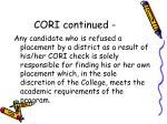 cori continued