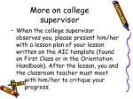 more on college supervisor