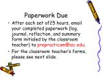 paperwork due