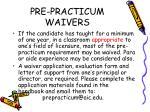 pre practicum waivers