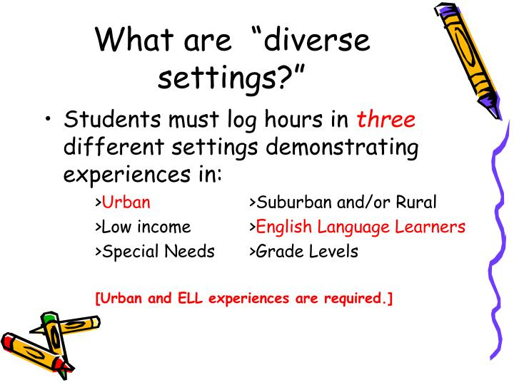 """What are  """"diverse settings?"""""""