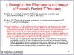 1 strengthen the effectiveness and impact of federally funded it research