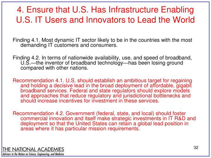 4. Ensure that U.S. Has Infrastructure Enabling
