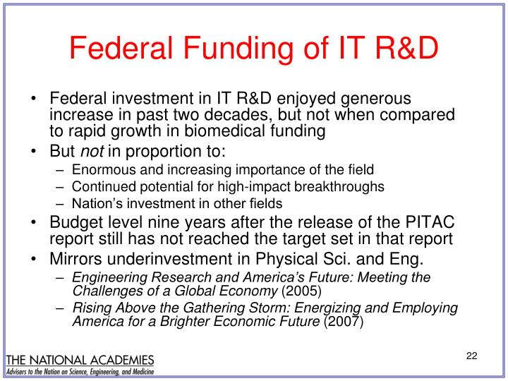 Federal Funding of IT R&D