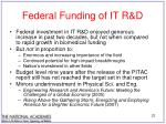 federal funding of it r d