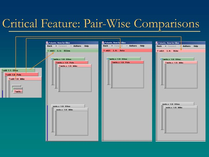 Critical Feature: Pair-Wise Comparisons