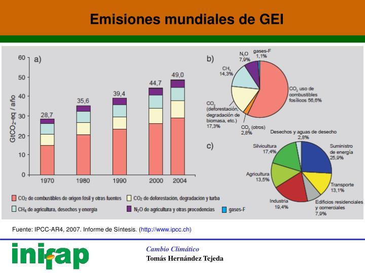 Emisiones mundiales de GEI