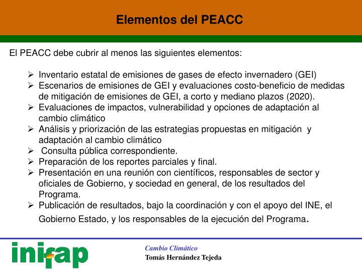 Elementos del PEACC