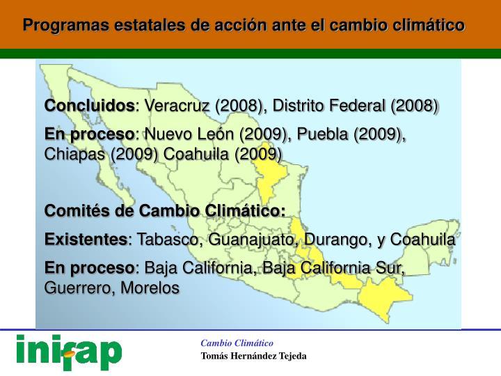 Programas estatales de acción ante el cambio climático