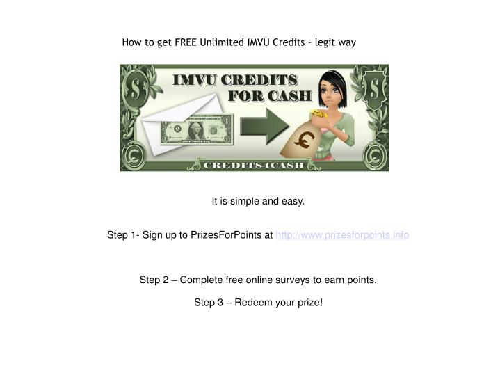 How to get free unlimited imvu credits legit way