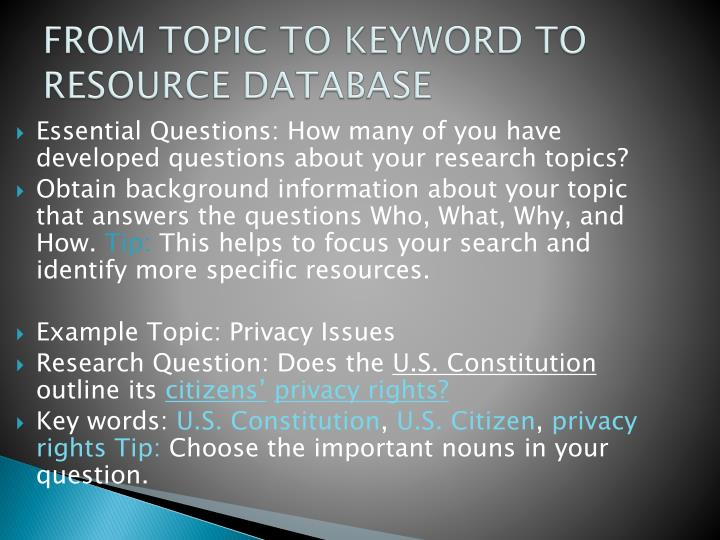 FROM TOPIC TO KEYWORD TO RESOURCE DATABASE