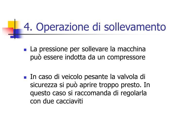 La pressione per sollevare la macchina può essere indotta da un compressore