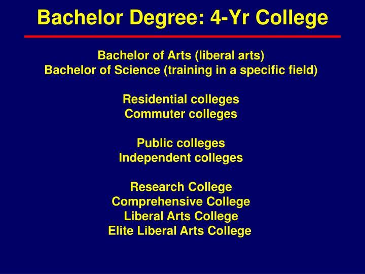 Bachelor Degree: 4-Yr College