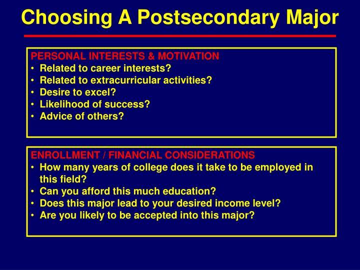 Choosing A Postsecondary Major