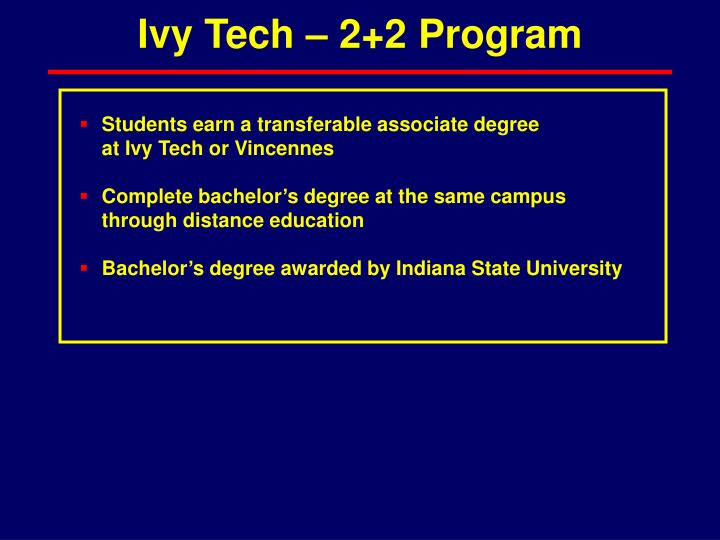 Ivy Tech – 2+2 Program
