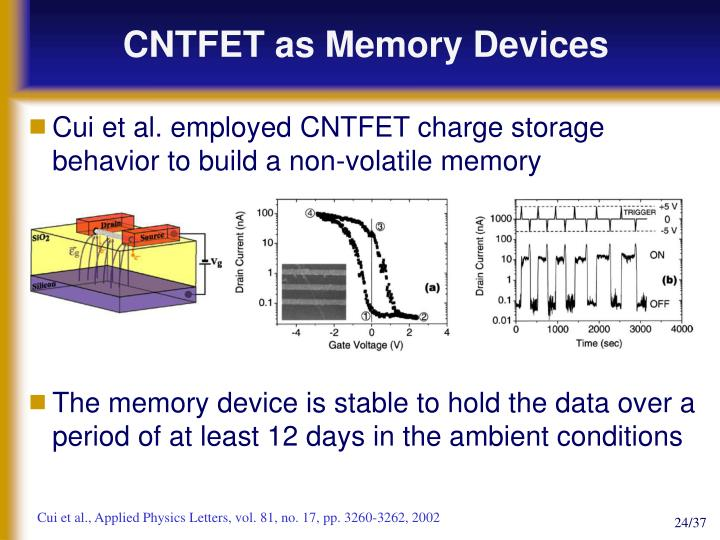 CNTFET as Memory Devices