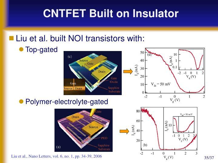 CNTFET Built on Insulator