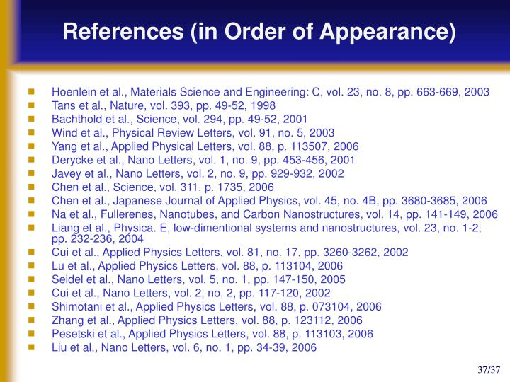 References (in Order of Appearance)