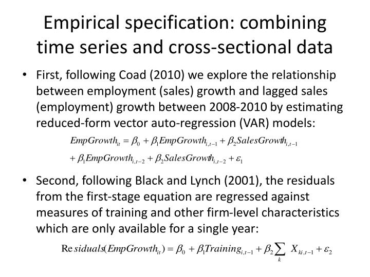 Empirical specification: combining time series and cross-sectional data