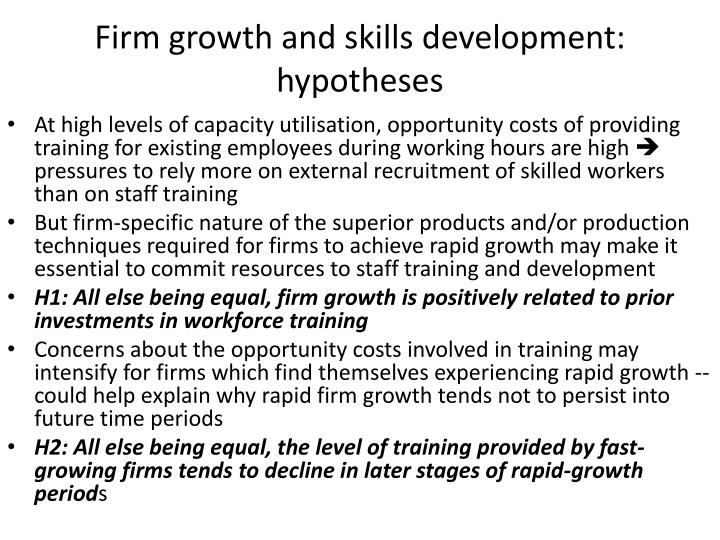 Firm growth and skills development: hypotheses