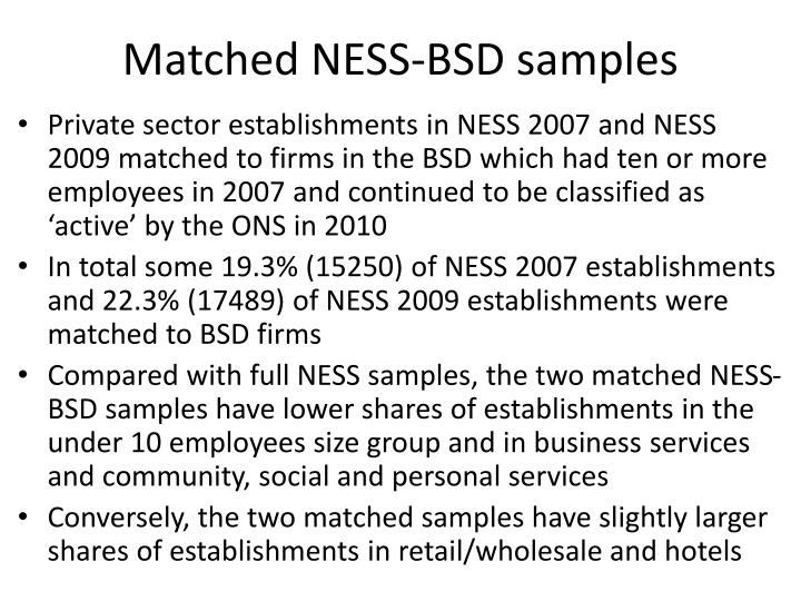 Matched NESS-BSD samples