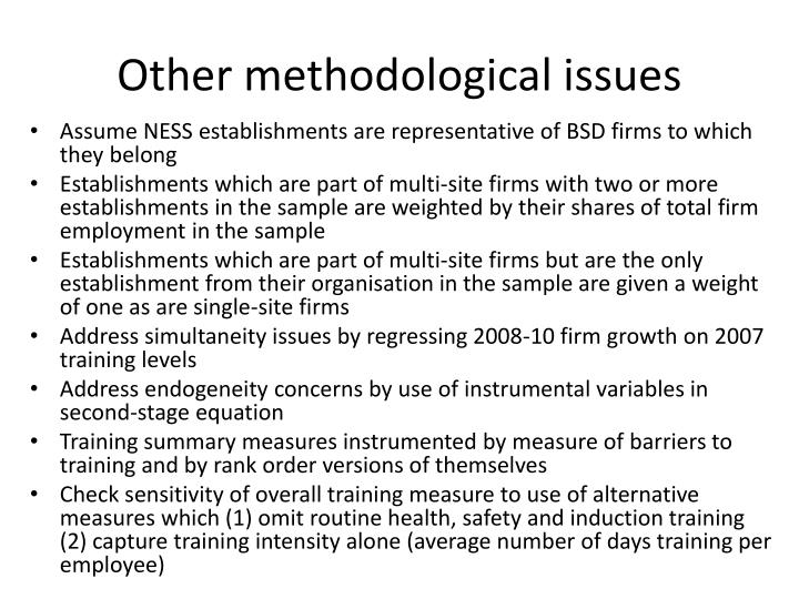 Other methodological issues