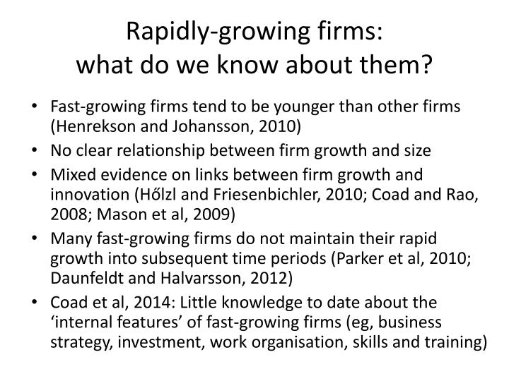 Rapidly growing firms what do we know about them
