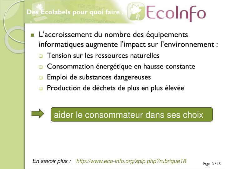 Des Ecolabels pour quoi faire ?