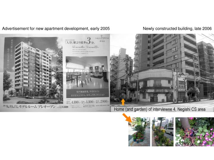 Advertisement for new apartment development, early 2005