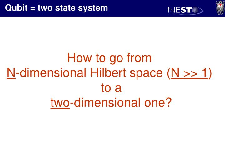 Qubit = two state system