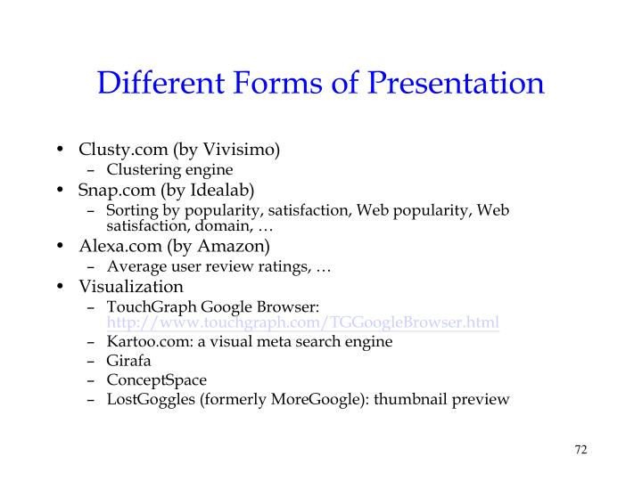 Different Forms of Presentation