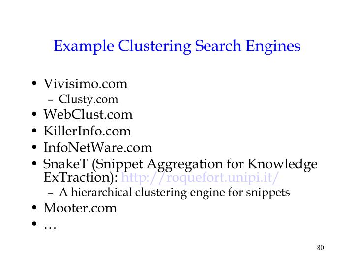 Example Clustering Search Engines