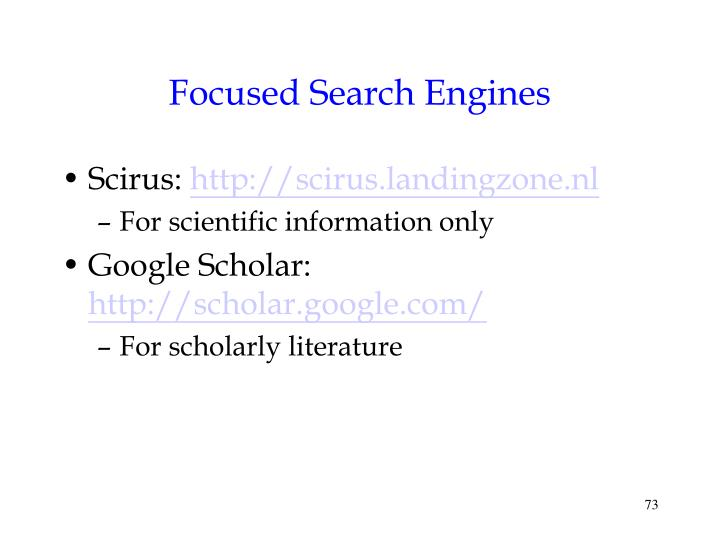 Focused Search Engines