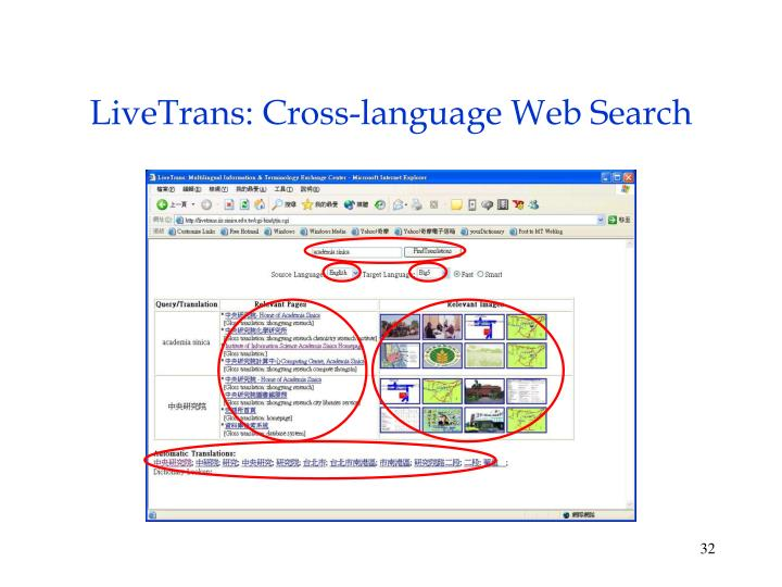 LiveTrans: Cross-language Web Search