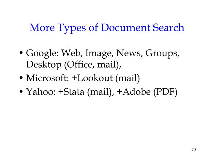 More Types of Document Search