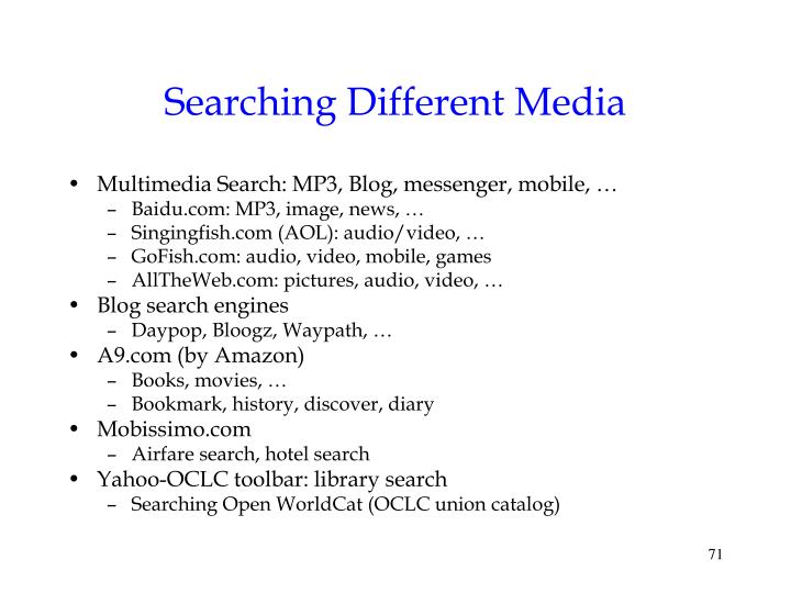 Searching Different Media