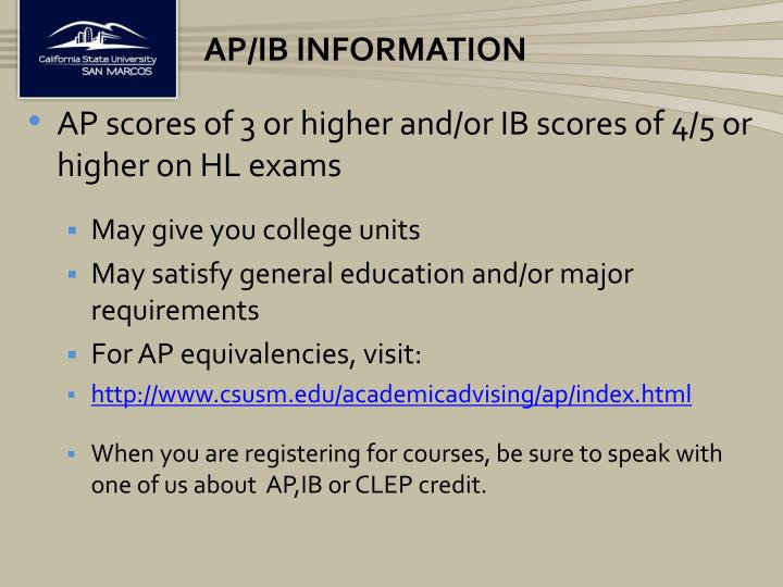 AP/IB Information