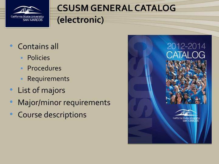 CSUSM General Catalog