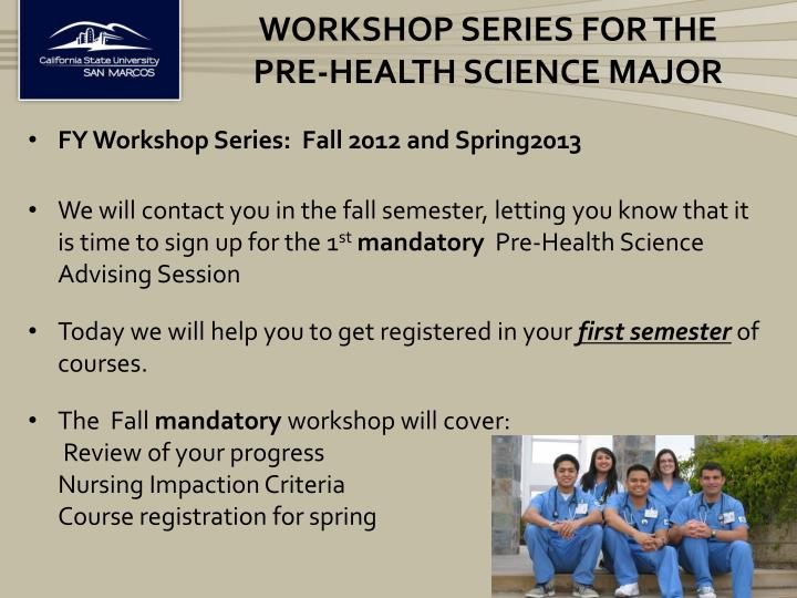 workshop series for the