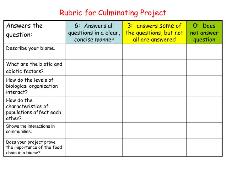 Rubric for Culminating Project
