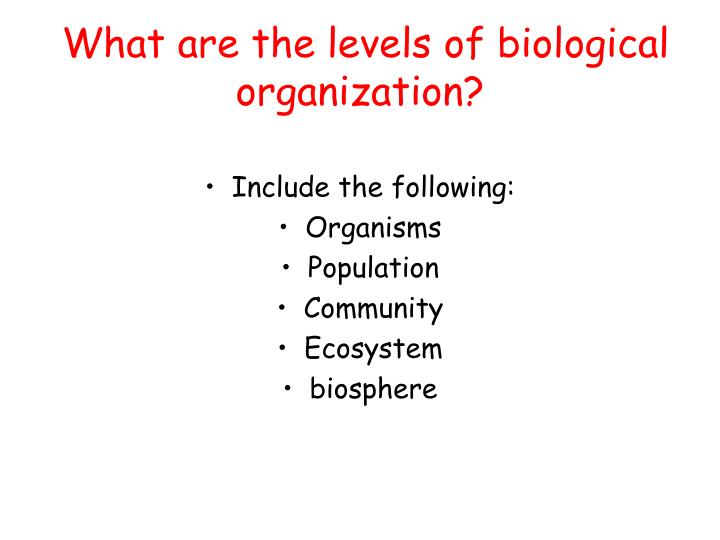 What are the levels of biological organization?